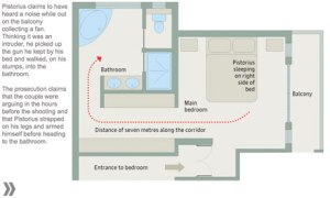 A plan of Oscar Pistorius's house. Graphic: Paddy Allen, Finbarr Sheehy, Paul Scruton, David Smith
