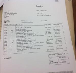 invoice for guns