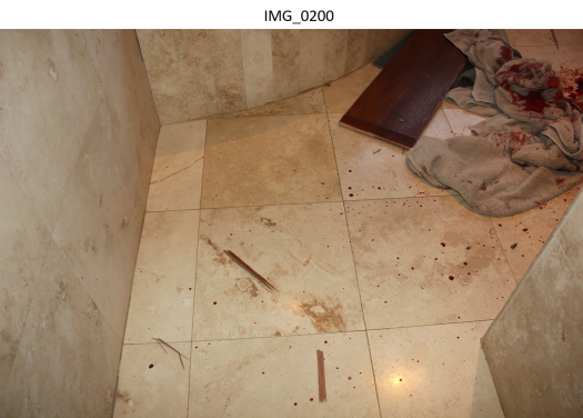 bathroom entry and bloody towels