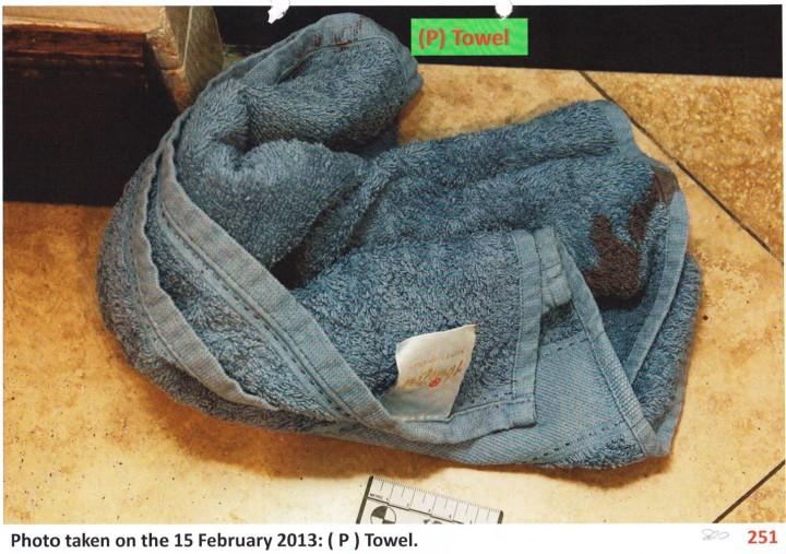 bloody towel downstairs