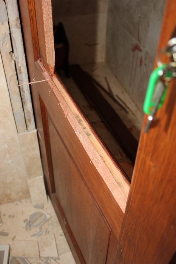 Broken toilet door