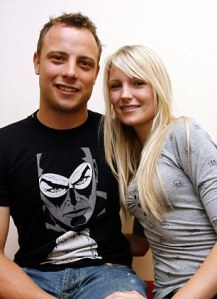 22 August 2008 South Africa South African Paralympic runner Oscar Pistorius and his girlfriend Jenna Edkins