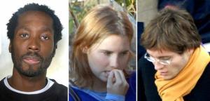 La combo, realizzata con tre immagini di archivio, mostra da sinistra: Rudy Hermann Guede, Amanda Knox e Raffaele Sollecito. ANSA/DC