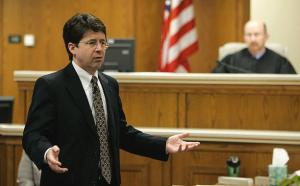 Steven Avery's defense attorney Dean Strang gives his closing arguments in the courtroom on Thursday, March 15, 2007, at the Calumet County Courthouse in Chilton, Wis. Avery is accused, along with his 17-year-old nephew, of killing Teresa Halbach, 25, after she went to the family's rural salvage lot to photograph a minivan they had for sale.  (AP Photo/Morry Gash, Pool)
